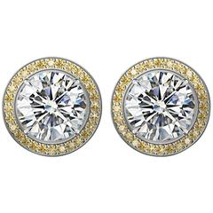 GIA Certified 2 Carat Diamond Stud Earrings with Yellow Sapphire Pave