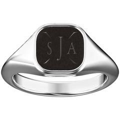 Hugo & Haan White Gold Initial Signet Ring