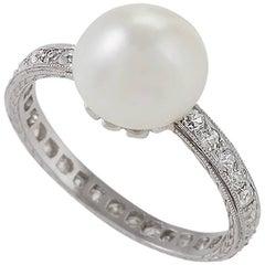 Natural Pearl Diamond Platinum Ring