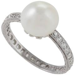 Natural Pearl Diamond Platinum Ring, circa 1910