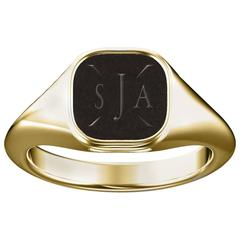 Signet Ring in Yellow Gold with Custom Initials