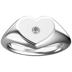 Heart Shaped Diamond White Gold Signet Ring