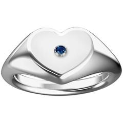 Heart Shaped Signet Ring with Blue Sapphire