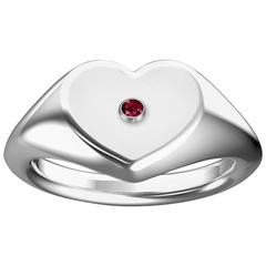 Heart Shaped Signet Ring with Ruby