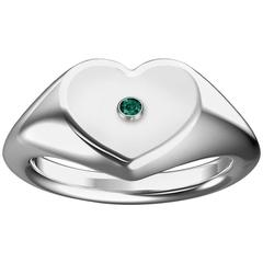 Heart Shaped Signet Ring with Emerald