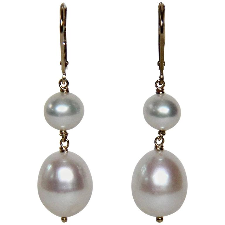 Marina J Double Pearl Drop Gold Hook Earrings 1