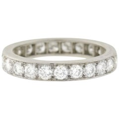 Art Deco 2.50 Total Carat Old European Diamond Platinum Eternity Band