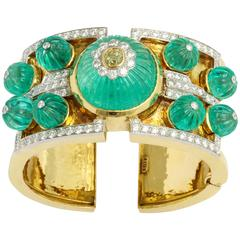 David Webb Carved Emerald Diamond Gold Bangle Bracelet