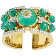 David Webb Carved Emerald Diamond Gold Bangle Bracelet