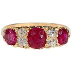 Edwardian Burma Ruby Diamond Gold Ring
