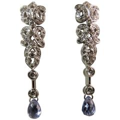 Pear Shape Briolette Sapphire Diamond White Gold Drop Earrings