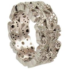 Diamond White Gold Floral Design Band Ring