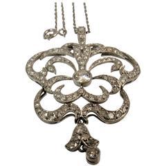 Diamond Platinum Pendant Suspended from a Platinum Chain
