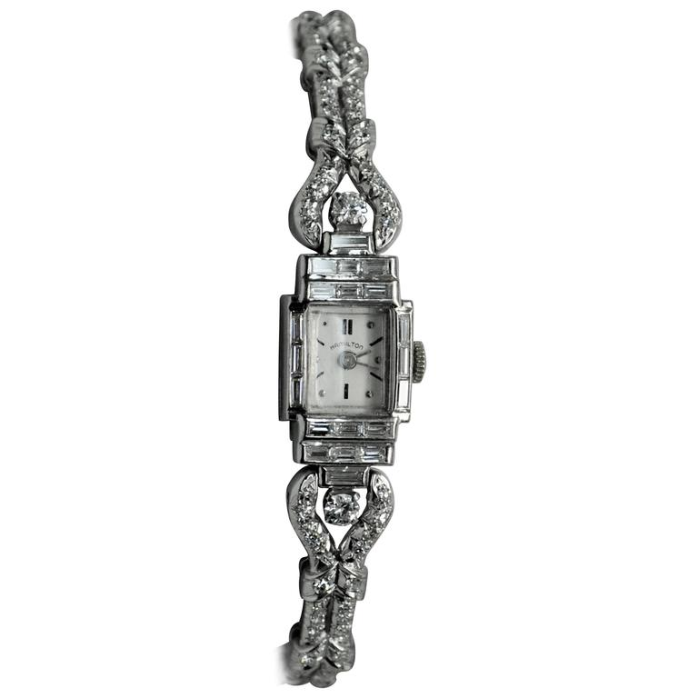 Oscar Heyman Hamilton Platinum Diamond Quartz Wristwatch 1