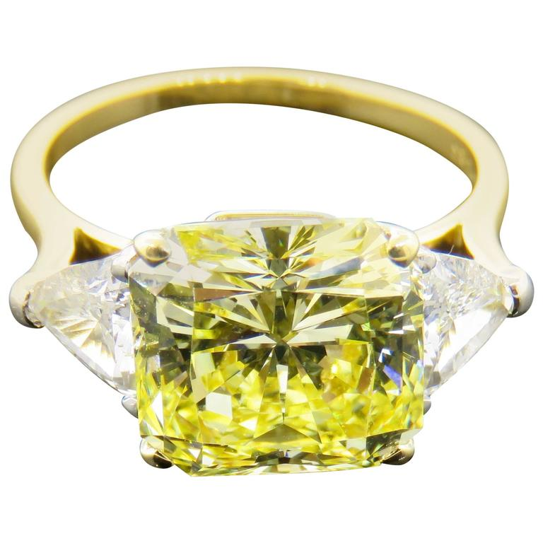 Cartier Fancy Intense Yellow Radiant Diamond Gold Ring 1