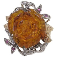 Diamond Ruby and Resin Amber Rose  Gold Ring