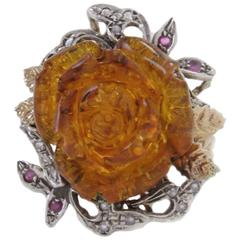 Diamond Ruby and Resin Amber Rose Ring