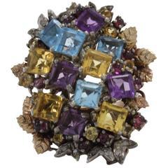 Multi Gemstones Cluster Ring