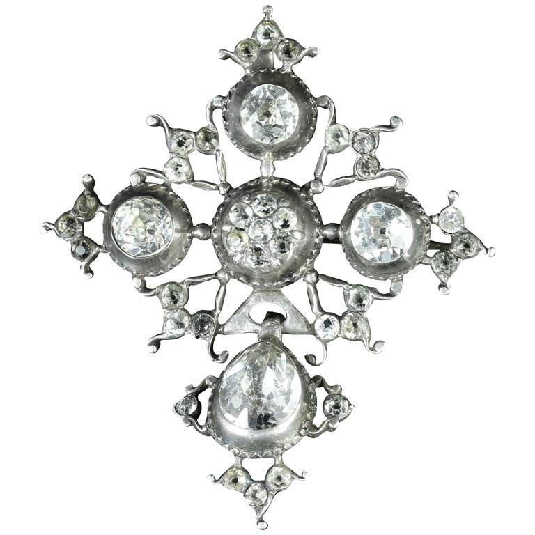 Antique Georgian Paste Brooch Silver Pendant