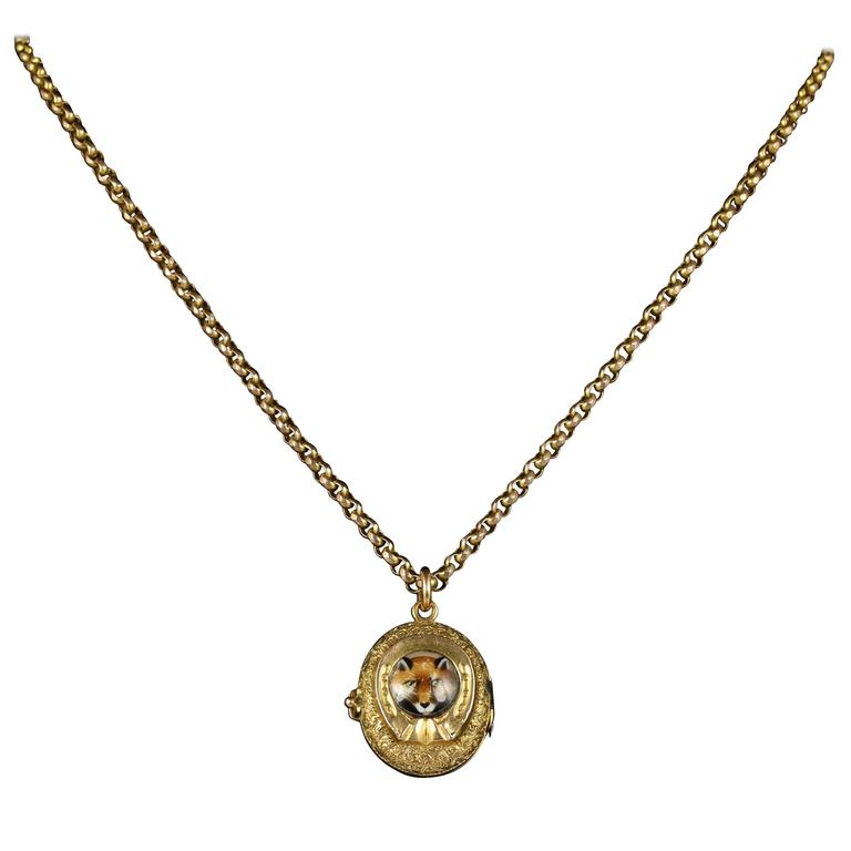 Antique Victorian Fox Hunting Necklace Gold Locket and Chain, circa 1900