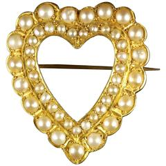 Antique Victorian Gold Pearl Heart Brooch 15 Carat Gold, circa 1900