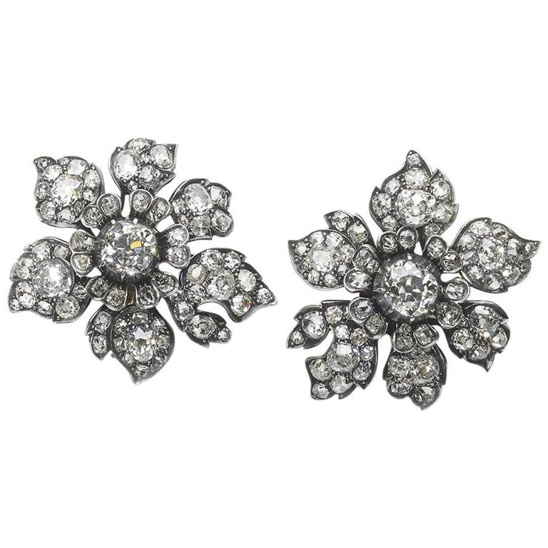 Antique Diamond Flower Earrings 1
