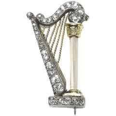 Diamond Harp Brooch