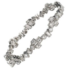 Vintage Diamond Bracelet, Platinum, Circa 1950, Approximately 5.60ct
