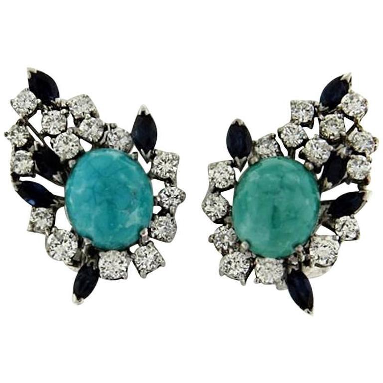 Impressive Diamond Turquoise Sapphire Earrings