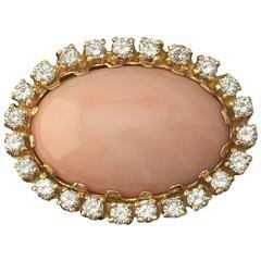 Angel Skin Coral Diamond Gold Slider Necklace Pendant