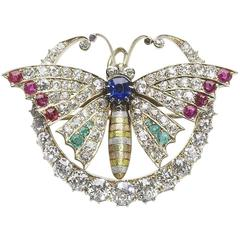 Antique Butterfly and Crescent Brooch