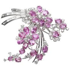 Pink Sapphire and Diamond Spray Brooch