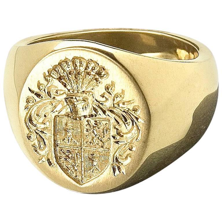 Susan Lister Locke Big Boy Design Hand Engraved Signet Ring in 18 ...