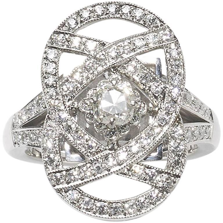 Modern Diamond Platinum Plaque Ring