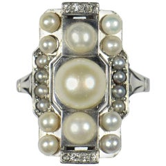French Art Deco Natural Pearl Diamond Platinum Ring, circa 1930