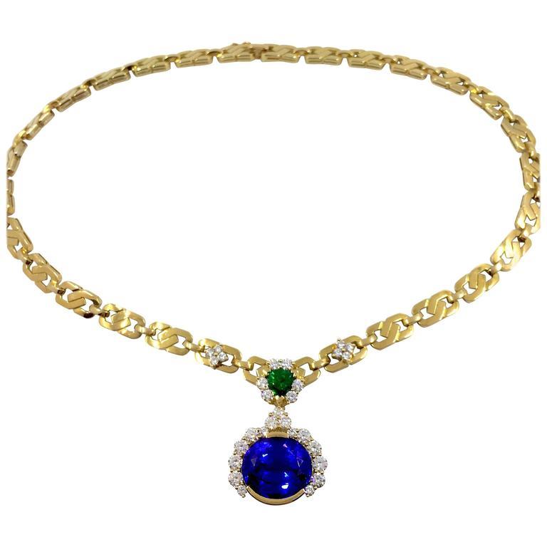 Unique Tanzanite Tsavorite Diamond Yellow Gold Necklace