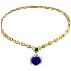 Unique Tanzanite Tsavorite Diamond Yellow Gold Necklace