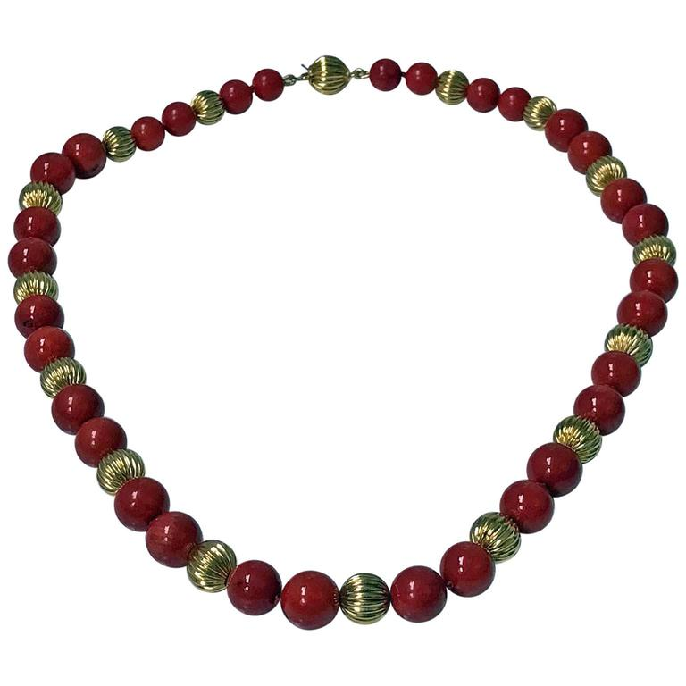 20th Century Natural Red Coral and Gold Necklace