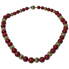 20th Century Natural Red Bead and Gold Necklace