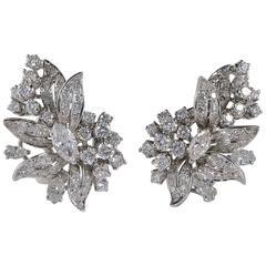 5.00 Carat Diamond Vintage Spray Earrings