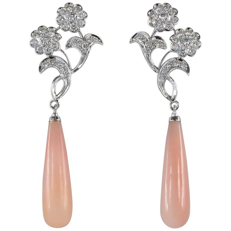 Pink Opal 2.40 Carat Diamond Long Drop Earrings