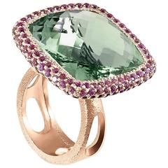 Alex Soldier Garnet Green Amethyst Rose Gold Textured Royal Ring One of a Kind