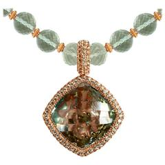 Peridot Green Amethyst Rose Gold Necklace Pendant One of a Kind Handmade in NYC