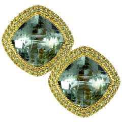 Green Amethyst Peridot Yellow Gold One of a Kind Earrings Handmade in NYC