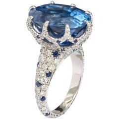 AGL Certified 16 Carat Ceylon Sapphire Diamond Cocktail Ring