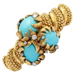 David Webb Turquoise Diamond Gold Blossom Bracelet