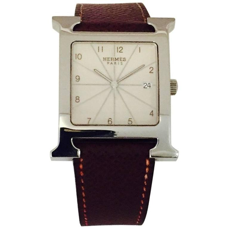 Hermes Stainless Steel H Quartz Wristwatch