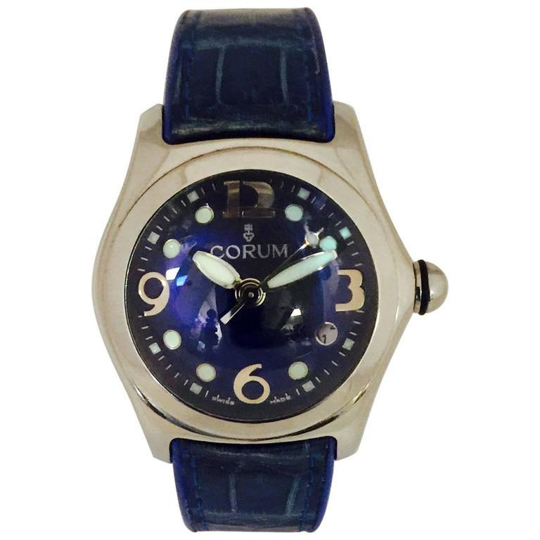 Corum Stainless Steel Blue Bubble quartz Wristwatch