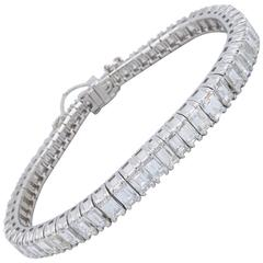 12.00 Carat Emerald Cut Diamond Platinum Line Bracelet