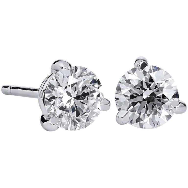 H & H 1.23 Carat Round Cut Diamond Stud Earrings